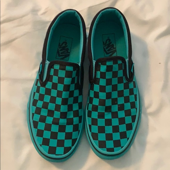 Vans Shoes | Teal And Black Checkered